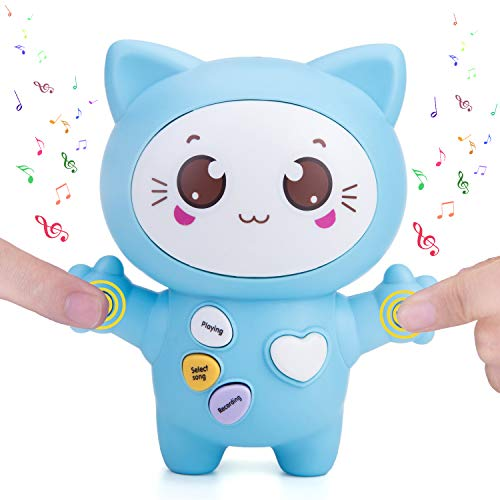 Sopu Touch Music Recording Toy Cat Toys, Transmit Love Love Interactive Toy con Play Notes & Music, Luz LED brillante, Demo y Talking Smart Gifts Cat Toy para niños / amantes (azul)