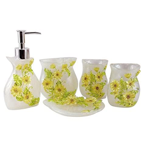 Discount JynXos Resin 5 Pieces Bathroom Accessory Set - White With Sunflower Design Ensemble Bathroom Vanities Home Decor hot sale