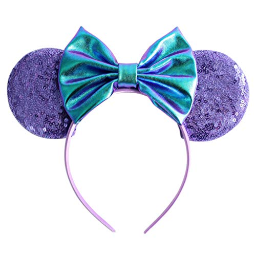 YanJie Metallic Hair Bows Minnie Mouse Ear Hairband for Girls Big Sequins Ears Chic DIY Kids Hair Accessories Headband]()