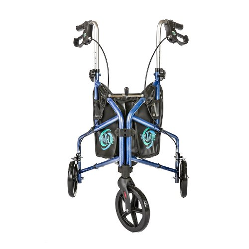 HEALTHLINE 3 Wheel Rollator Walker for Seniors, Foldable Lightweight Three Wheel Walker Traveler Mobility Rollator 3 Wheel Walker with Basket Tray, Pouch, Brakes, Narrow Walker for Small Spaces, Blue