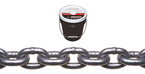 (Campbell 0140433 System 3 Grade 30 Low Carbon Steel Proof Coil Chain in Round Pail, Hot Galvanized, 1/4