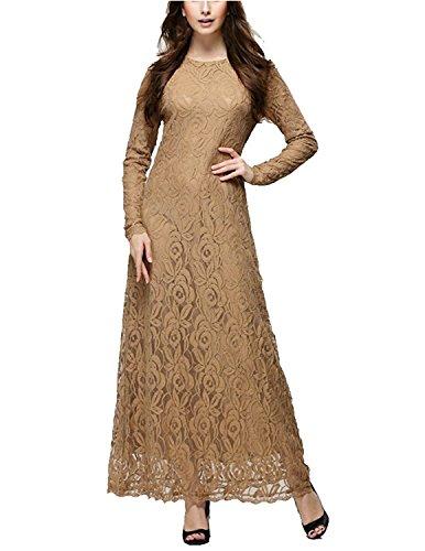 BYD Mujeres Elegant Vestido de Encaje Musulmán Manga Larga Floral Lace Largos Vestidos de Noche Cóctel Khaki