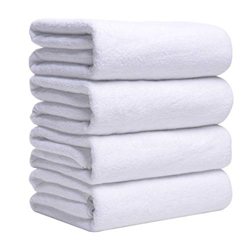 SOFTOWN Family Microfiber Bath Towel Set Premium Ultra Absorbent and Super Soft 27×54 inch White 4 Pack
