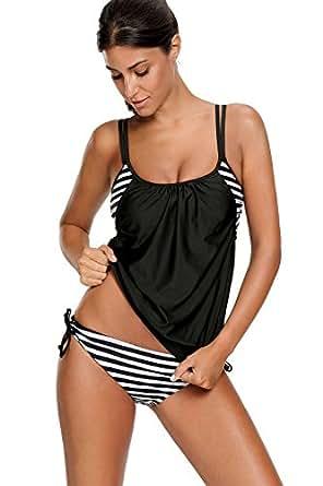 Zando Long Torso Stripe Tankini Swimwear For Women Double Up Swimsuits Teens Two Piece Tank Top Bathing Suits Modest Black White S (US Size 0-2)
