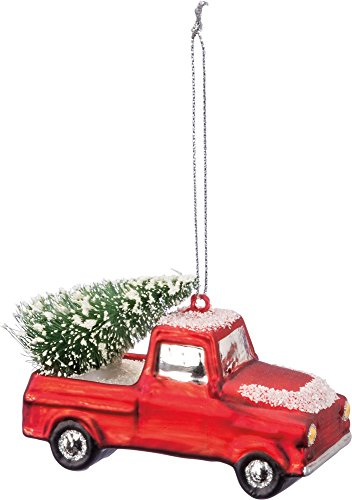 Primitives by Kathy Red Snow Truck Hauling Tree Glass Ornament 3.5