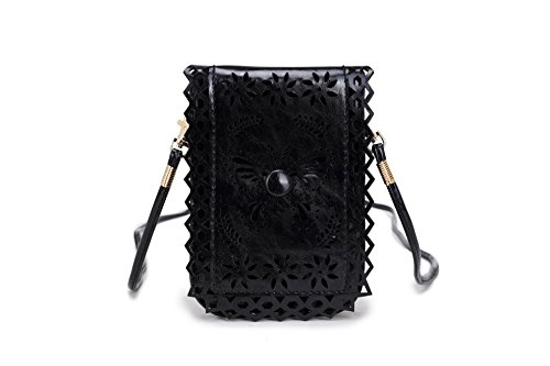 Mobile Mini Square Purse Faux Cross Body New Pouch Leather amp; Black Messenger 48EFaxapwq