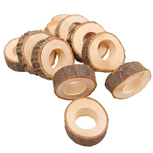 CMrtew 10pcs Natural Creative Wooden Unfinished Circle Wood Pendants Napkin Ring for Craft Making Hotel Table DIY Projects Wedding ()