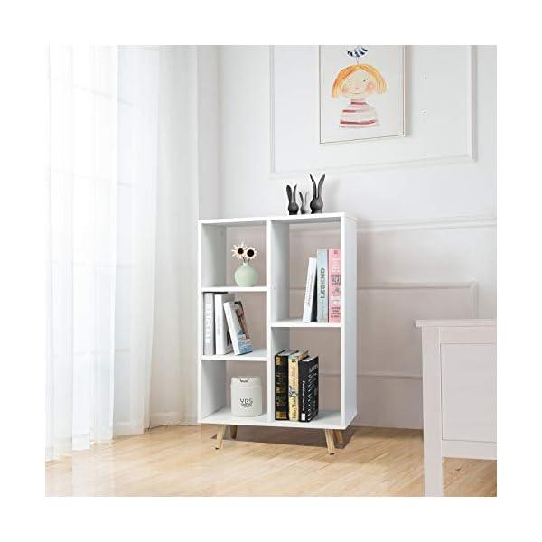WOLTU Bibliothèque Étagère à Livres pour Salon, Bureau, Meuble de Rangement 5 Compartiments avec Pieds en Bois SK011ws