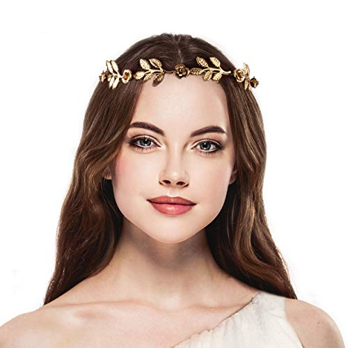 Lux Accessories Gold Tone and Rhinestone Leaf Leaves Metal Flower Crown]()