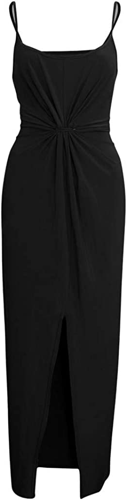 Alangbudu Women Sleeveless Spaghetti Strap Cami Maxi Long Pencil Bodycon Slip Front Split Dress Gown Prom