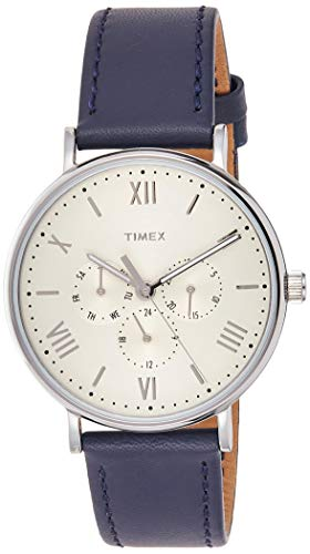 Timex Unisex TW2R29200 Southview 41mm Multifunction Blue/White Leather Strap Watch