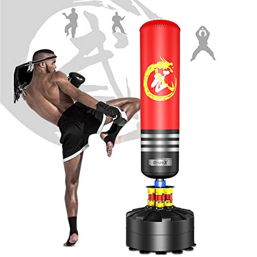 - Dripex Freestanding Punching Bag 69'' - 182lb Heavy Boxing Bag with Suction Cup Base for Adult Youth Women Men- Free Stand Kickboxing Bags Kick Punch Bag | Red