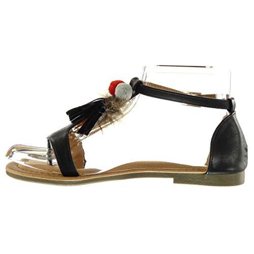 Angkorly - Zapatillas de Moda Sandalias correa mujer fleco pompom Talón Tacón ancho 1.5 CM - Negro