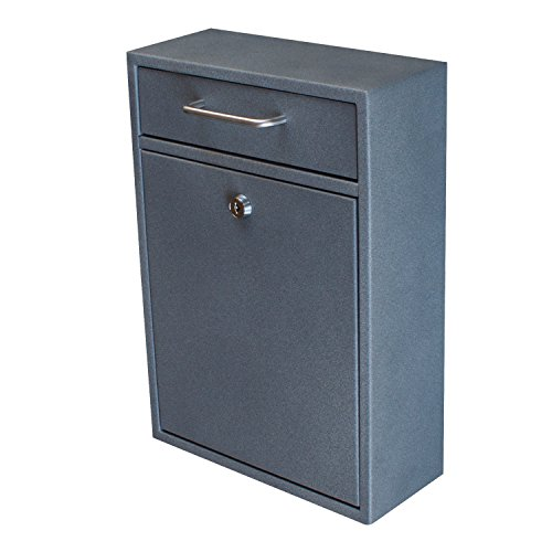 Mail Boss 7415 High Security Steel Locking Wall Mounted Mailbox - Office Drop Box - Comment Box - Letter Box - Deposit Box, Granite