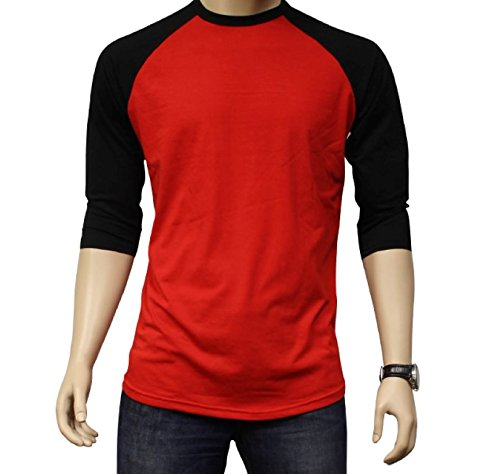 - Men's Plain Athletic 3/4 Sleeve Baseball Sports T-Shirt Raglan Shirt S-XL Team Jersey Red Black 3XL