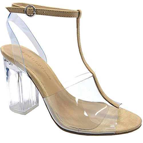 T Chunky Wild Women's Strap Natural Heeled Lucite Diva Clear Sandal rYTxFEYw