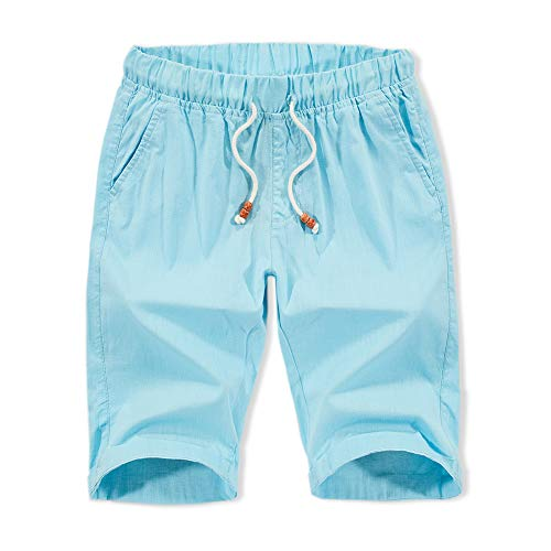 XIONG TAI Mens Linen Shorts Pleated Summer Shorts Flat Front Classic Fit Casual Shorts 8.5
