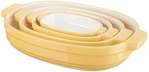 KitchenAid KBLR04NSBF Nesting Ceramic 4-Piece Bakeware Set - Butter Cup