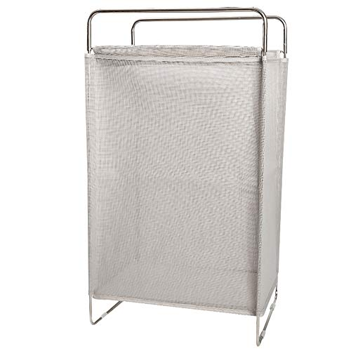 (CHICHIC Large Laundry Hamper Laundry Basket, Foldable Clothes Storage Basket, Home Collapsible Removable Dirty Clothes Bin Box, Rectangular Breathable Mesh Laundry Bag Easily Transport Handles (Grey))