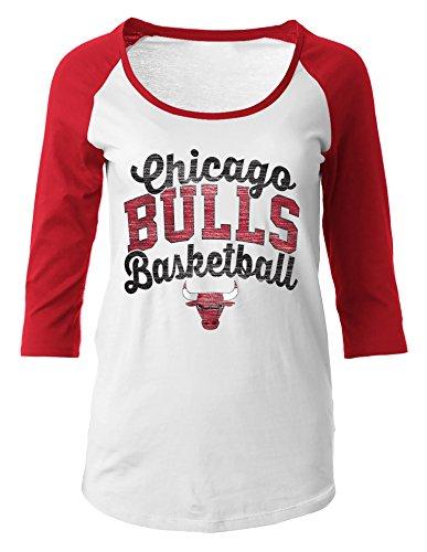 NBA Chicago Bulls Women's 100% Cotton Baby Jersey 3/4 Sleeve Scoop Neck Tee, X-Large, Red