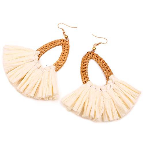 WooCoo oval Rattan Earrings for Womens,Ladies Woven Tassel Wicker Straw Drop Earrings Statement Handmade Jewelry(Coffee,10. 5× 3.3cm)