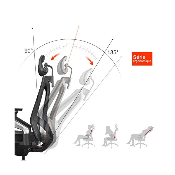 MIISLAIN Chaise de Bureau Ergonomique à Dossier Haut Respirant avec Limiteur d'inclinaison   Accoudoirs 4D Réglables   l…