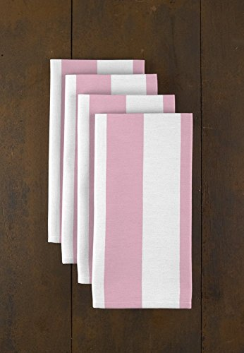 Pale Pink & White Cabana Stripe Dinner Napkins - Set of 12 (Pale Blue Dinner Set)