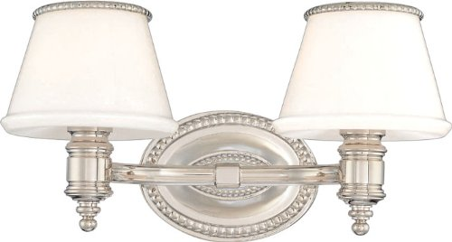 Richmond 2-Light Vanity Light - Polished Nickel Finish with Opal Glossy Glass Shade ()