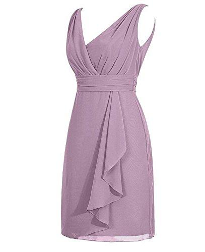 Botong Short Bridesmaid Dress Grey Sleeveless Chiffon Grey V Dress Homecoming Neck Pqrwg7P
