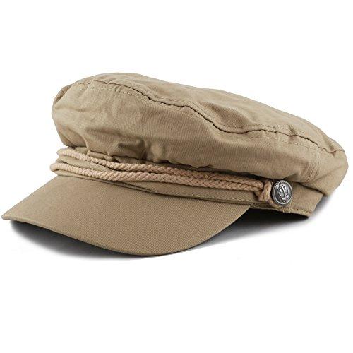 The Hat Depot Black Horn Unisex Cotton Greek Fisherman's Cap (L/XL, Khaki)]()
