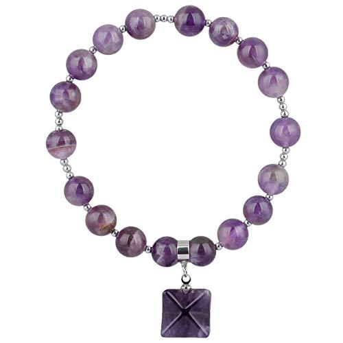 SUNYIK Amethyst Stretch Bracelet, Crystal Healing Reiki Merkaba Bracelets for -