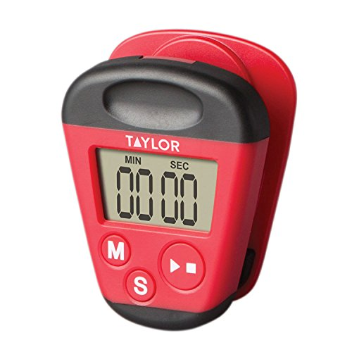 (Taylor Precision Products 5875 Kitchen Clip Digital Timer 3X 7X 9, Red)