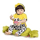 Gbell 22.5 Inch Reborn Doll Girl- Newborn Baby Doll Girl with Pacifier,Bottle&Pillow,Silicone & Cotten Lifelike Girl Doll Toy Birthday Gifts for Toddlers Girls Kids (Multicolor)