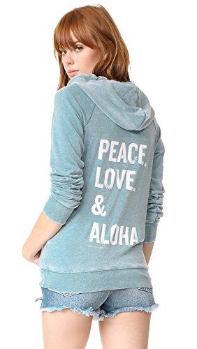 Spiritual Gangster Women's Peace Love & Aloha Dharma Zip Hoodie, Aqua, Large (Gangster Woman)