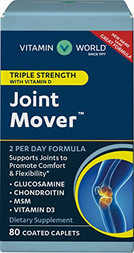 Vitamin World Triple Strength Joint Mover with Vitamin D 80 Caplets, Promotes Healthy Joints, Promotes Comfort and Flexibility, Coated, Gluten Free ()