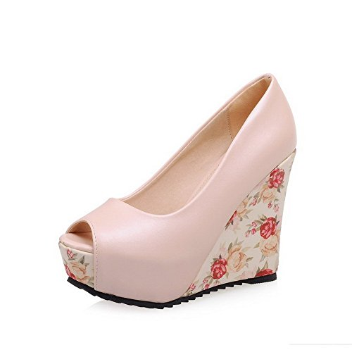 Allhqfashion Womens Peep Toe Pull-on Pu Tacchi Alti Sandali Rosa