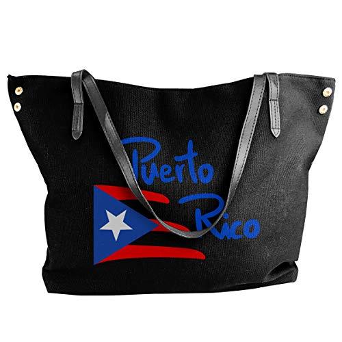 Puerto Rico Canvas Shoulder Bags HandbagDaily For Women Black