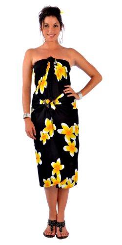 Plus sin de sin mujer Pareo amarillo talla mundial para en negro flecos Pareo flecos 1 de UcHqIvw1a