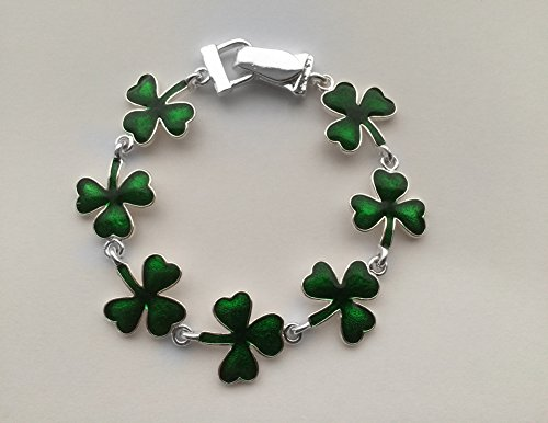 Icon Collection Silver - St Patricks Day Irish Shamrock Bracelet - St Patrick Catholic Costume