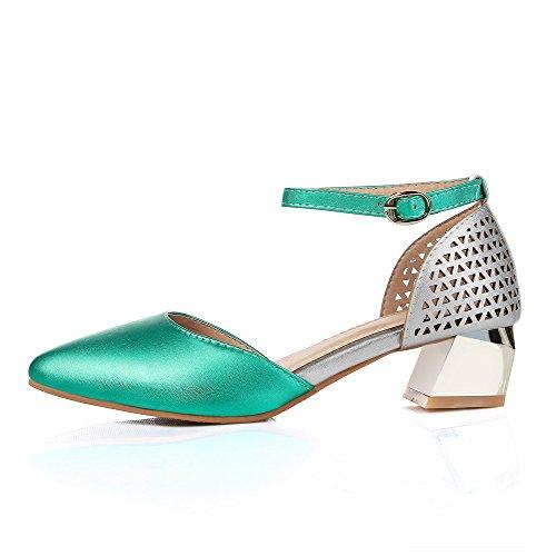 AllhqFashion Damen Spitz Zehe Gemischte Farbe Schnalle Pumps Schuhe Grün