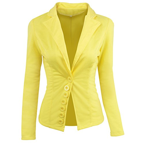 e2a01919aca Negocios Especial Manga Outerwear Fit Oficina Trajes De Mujeres Color  Amarillo Casual Con Woman Elegante Solapa Mujer ...