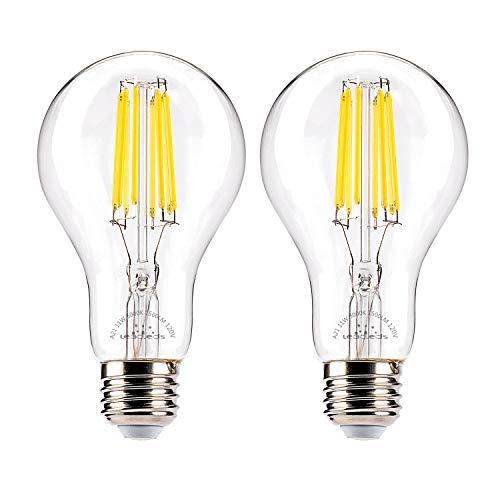 - Leadleds 11W LED Filament Bulb 100 Watt Equivalent, A21 LED Bulb Edison Style 5000k Daylight White 1500 Lumens, Medium Base E26 LED Light Bulbs Dimmable, 2-Pack