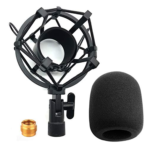 3Pcs Microphone Shock Mount with Microphone Windscreen Sponge Cover and Screw Adapter Microphone Shock Mount Clip Universal Mic Holder Stand Anti Vibration