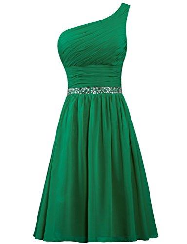 Donne Da Formiche Promenade Tallone Spalla Delle Del Chiffon Verde Cocktail Una Vestito Breve 6wH107nTq
