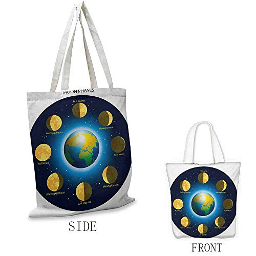 (Educational Craft canvas shopping bag Circular Frame Showing Basic Phases of Moon Calendar Cosmos Universe Can also be loaded with a laptop W15.75 x L13.78 Inch Blue Indigo Mustard)