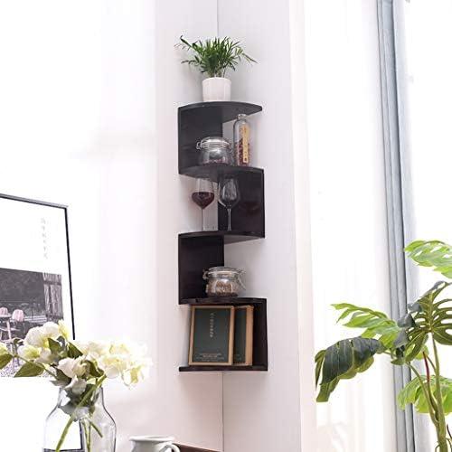 フローティング棚壁掛け木製コーナー本棚丈夫なフローティング収納オーガナイザーはテーブルの上に置くことができますスペースを取りません SYFO (Color : Black, Size : 20×20×120cm)