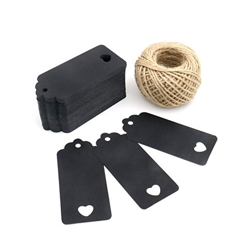 (Black) - G2PLUS 100 PCS Kraft Paper Gift Tags Hollow Heart Wedding Favour Tags 4cm x 9cm with 30m Jute Twine (Black) B01LXX4IPZ ブラック