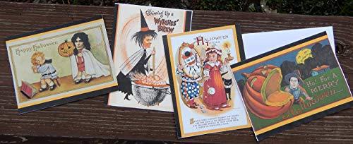 Vintage Halloween Serial Killer Post Cards. Set of 8 with Envelopes.