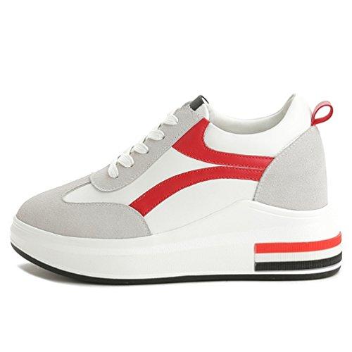 Printemps Talon Casuel Chaussures 34 cm JRenok Loisir à Rouge Femme 7 Mocassins Haute Cuir Sneakers Compensé 39 wxUxBHRqg