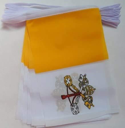 AZ FLAG Guirnalda 6 Metros 20 Banderas de la Ciudad del Vaticano 21x15cm - Bandera VATICANA 15 x 21 cm - BANDERINES: Amazon.es: Jardín